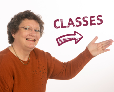Picture of Helen with an arrow to classes